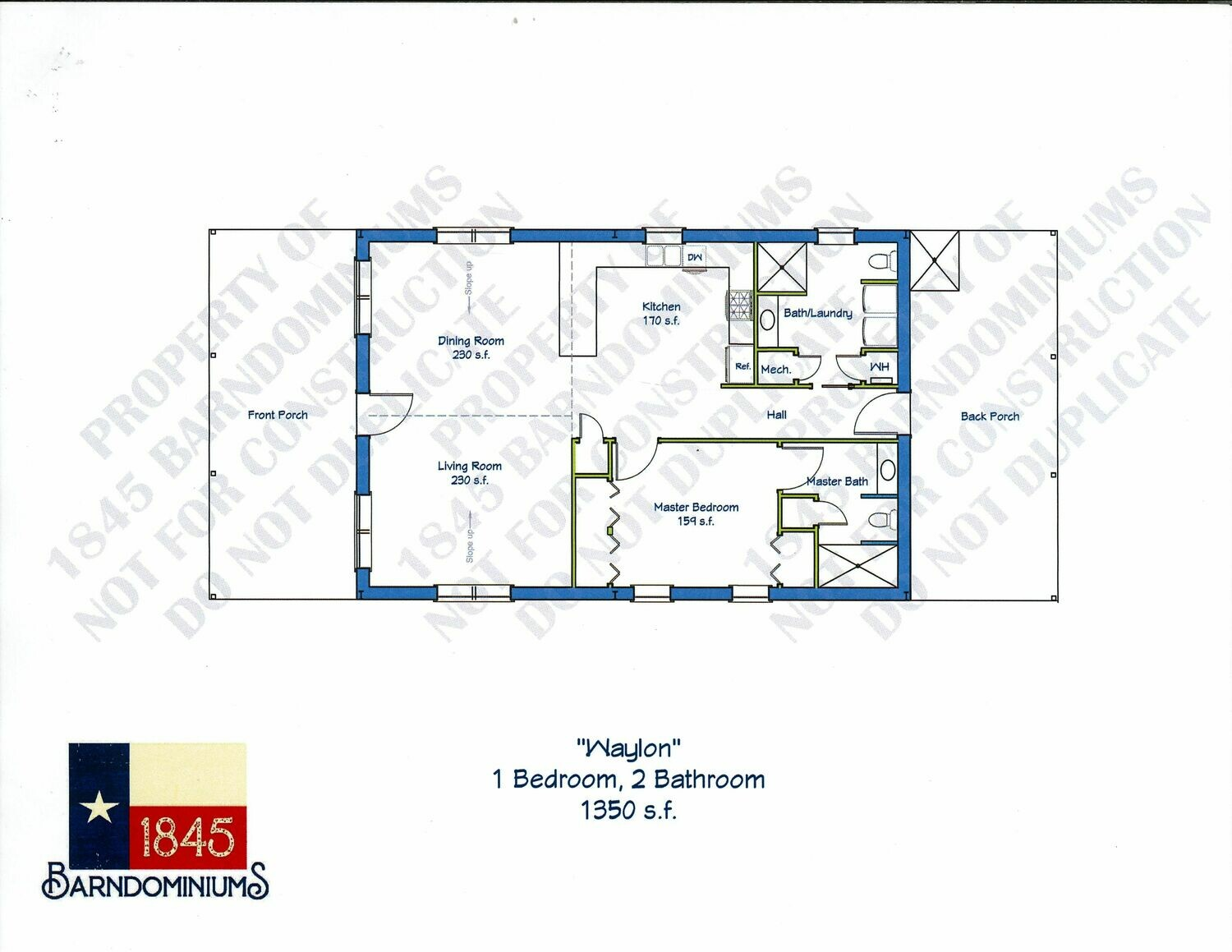 """Waylon"" Floor Plan 1 bedroom, 2 bath - 1350 sf"
