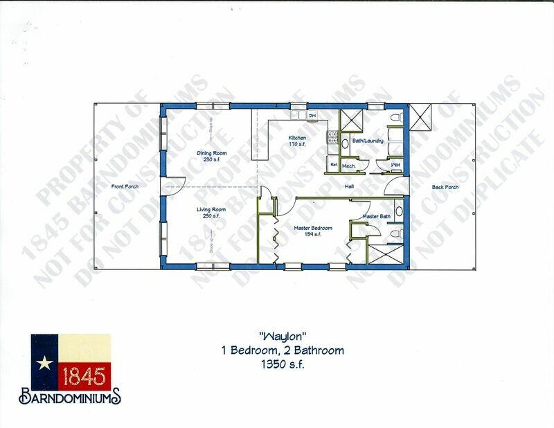 """Waylon"" Floor Plan 1 bedroom, 2 bath - 1350 sf"