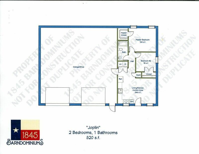 """Joplin"" Floor Plan 2 bedroom, 1 bath - 820 sf"
