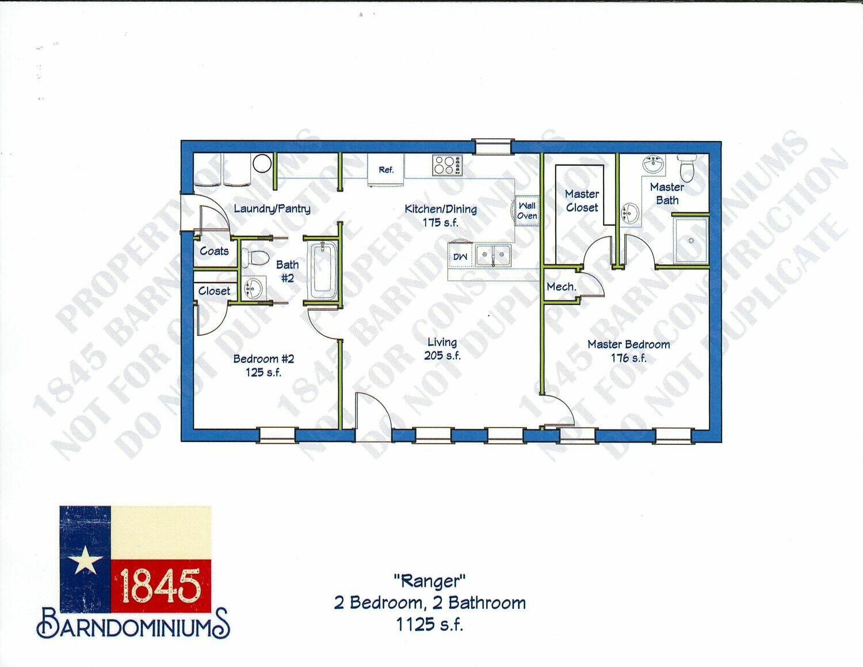 """Ranger"" Floor Plan 2 bedroom, 2 bath - 1125 sf"