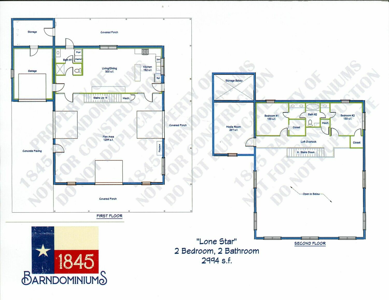 """Lone Star"" Floor Plan 2 bedroom, 2 bath 2994 sf"