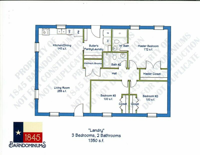 """Landry"" Floor Plan  3 bedroom, 2 bath -1350 sf"