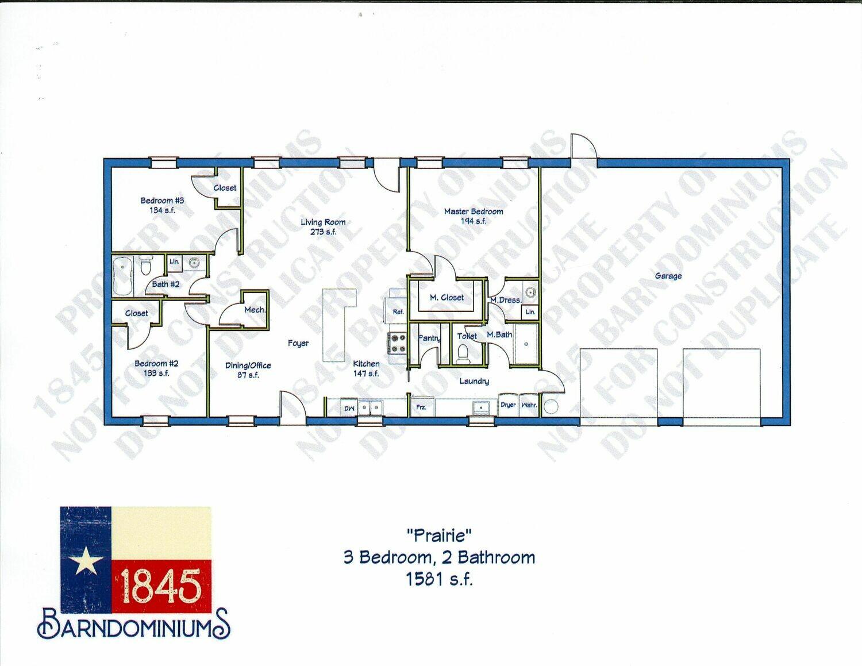 """""""Prairie"""" Floor Plan 3 bedroom, 2 bath - 1581 sf"""