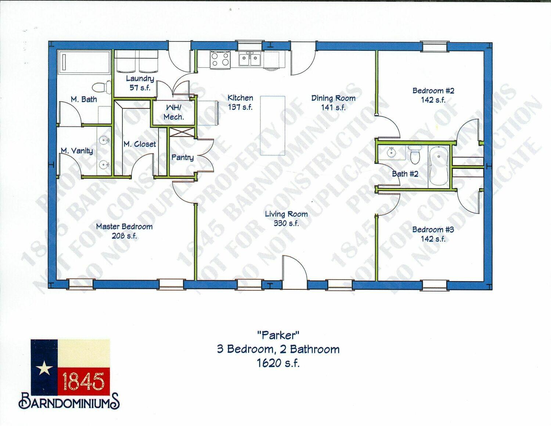 """Parker"" Floor Plan 3 bedroom, 2 bath 1620 sf"