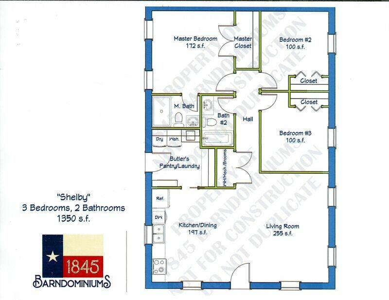 """Shelby"" Floor Plan 3 bedroom, 2 bath - 1350 sf"