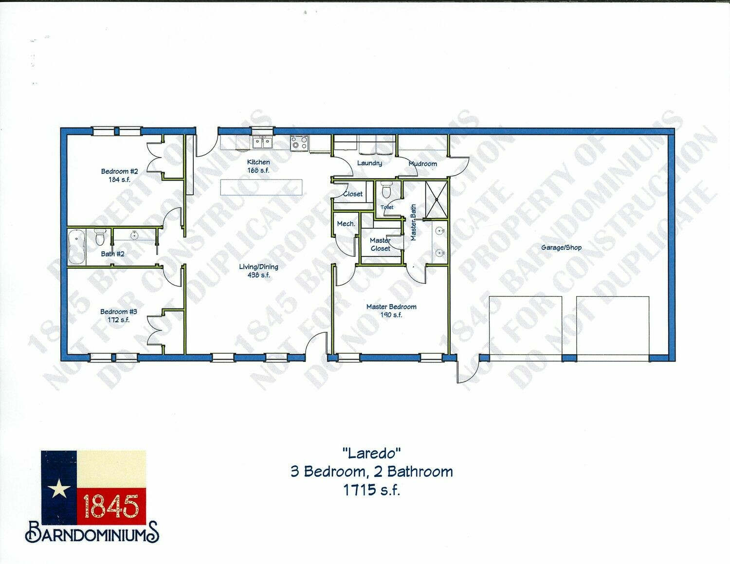 """Laredo"" Floor Plan 3 bedroom, 2 bath - 1715 sf"