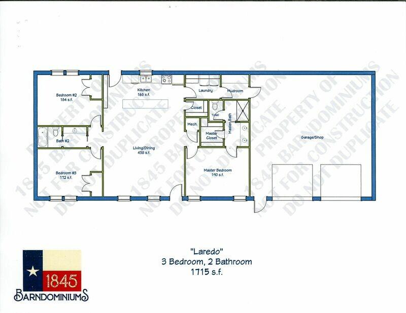 """Laredo"" Floor Plan 3 bedroom, 2 bath - 1715 sf"