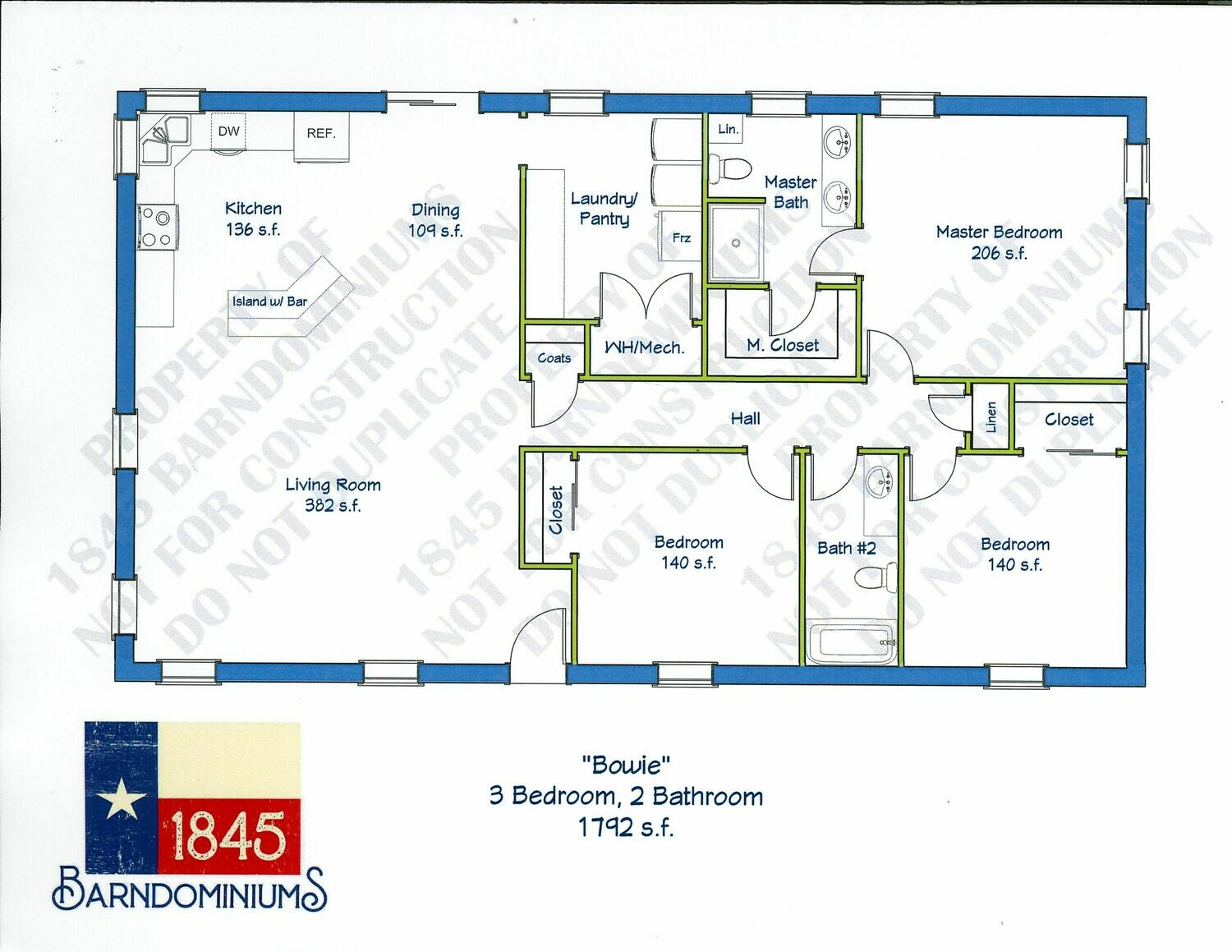"""Bowie"" Floor Plan 3 bedroom, 2 bath - 1792 sf"