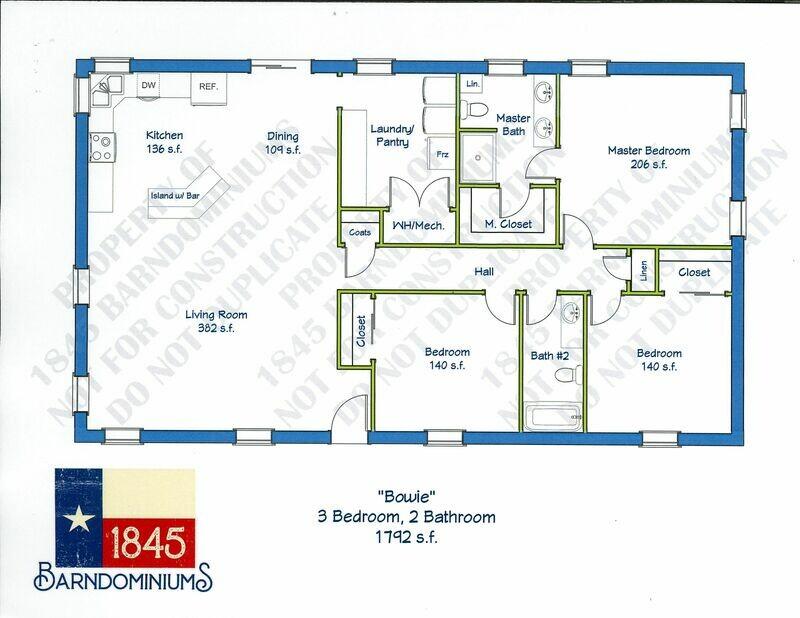 """""""Bowie"""" Floor Plan 3 bedroom, 2 bath - 1792 sf"""