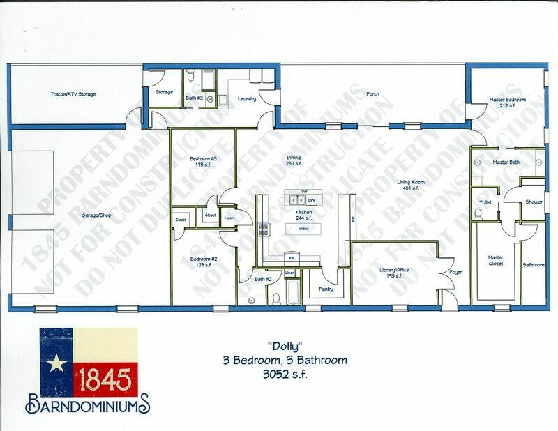 """""""Dolly"""" Floor Plan 3 bedroom, 3 bath - 3052 sf"""
