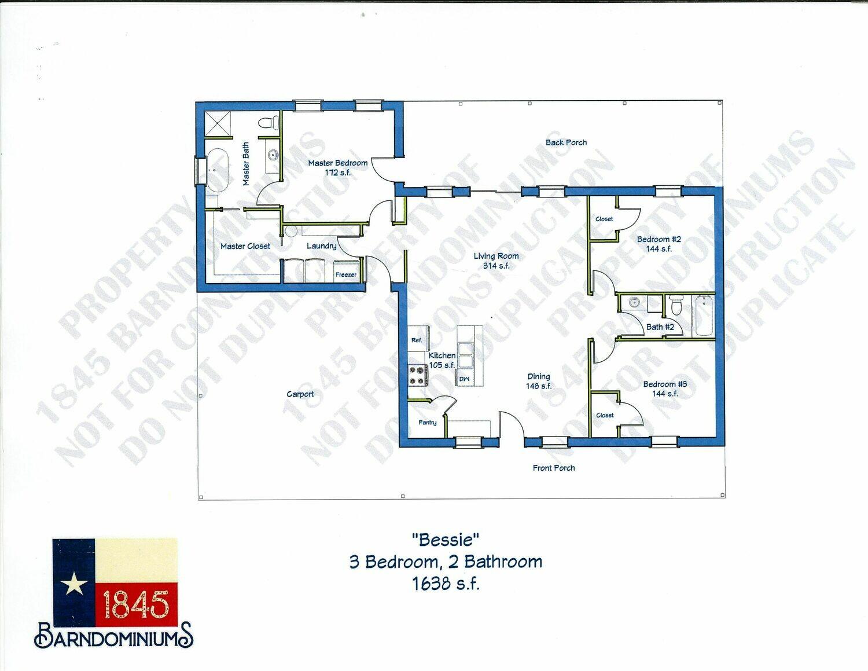 """Bessie"" Floor Plan 3 bedroom, 2 bath - 1638 sf"