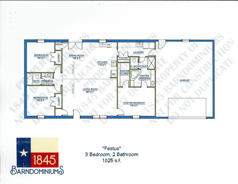 """""""Festus"""" Floor Plan 3 bedroom, 2 bath - 1825 sf"""
