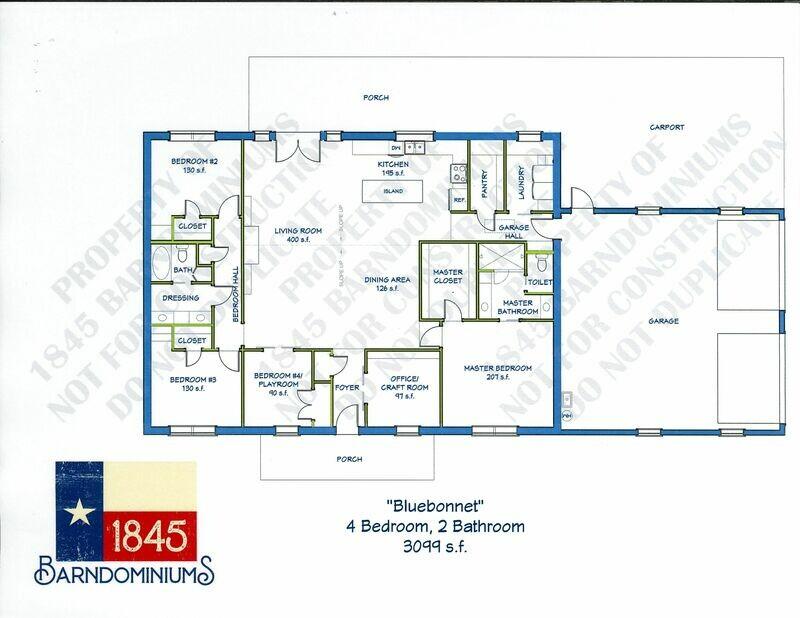 """""""Bluebonnet"""" Floor Plan 4 bedroom, 2 bath - 3099 sf"""