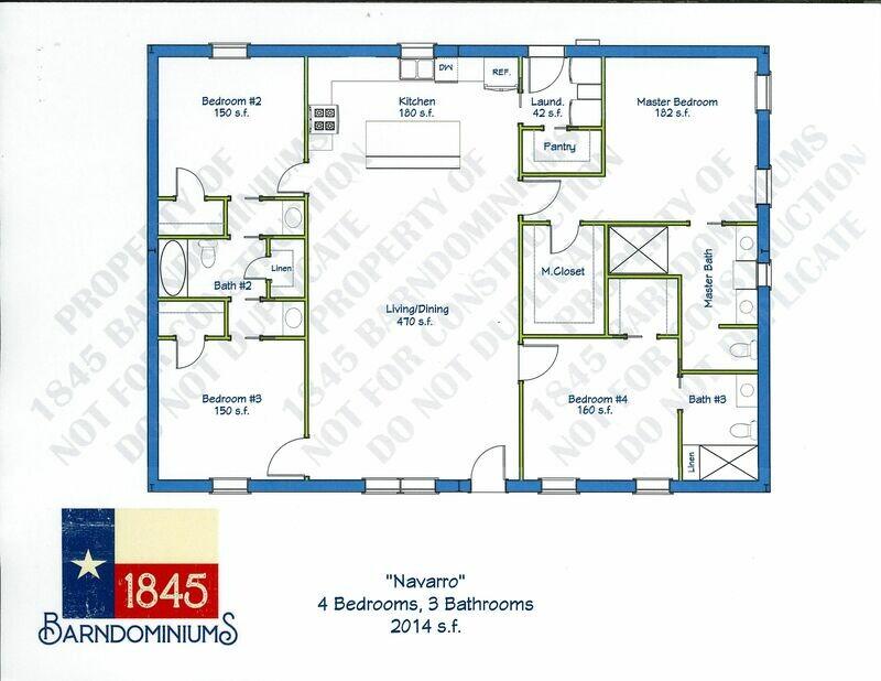 """Navarro"" Floor Plan 4 bedroom, 3 bath - 2014 sf"