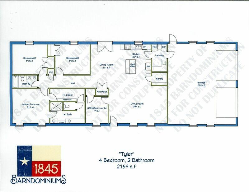 """""""Tyler"""" Floor Plan 4 bedroom, 2 bath - 2169 sf"""