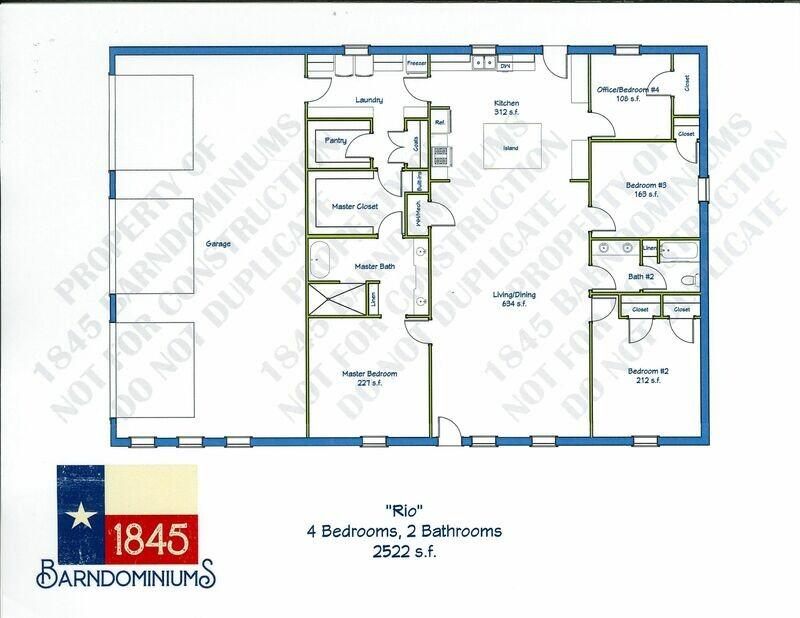 """""""Rio"""" Floor Plan 4 bedroom, 2 bath - 2552 sf"""