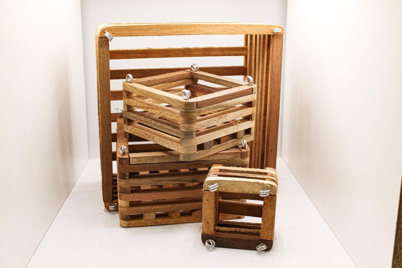Slatted Square Wood Vanda Baskets