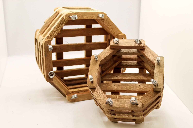 Slatted Octagonal Wood Vanda Baskets