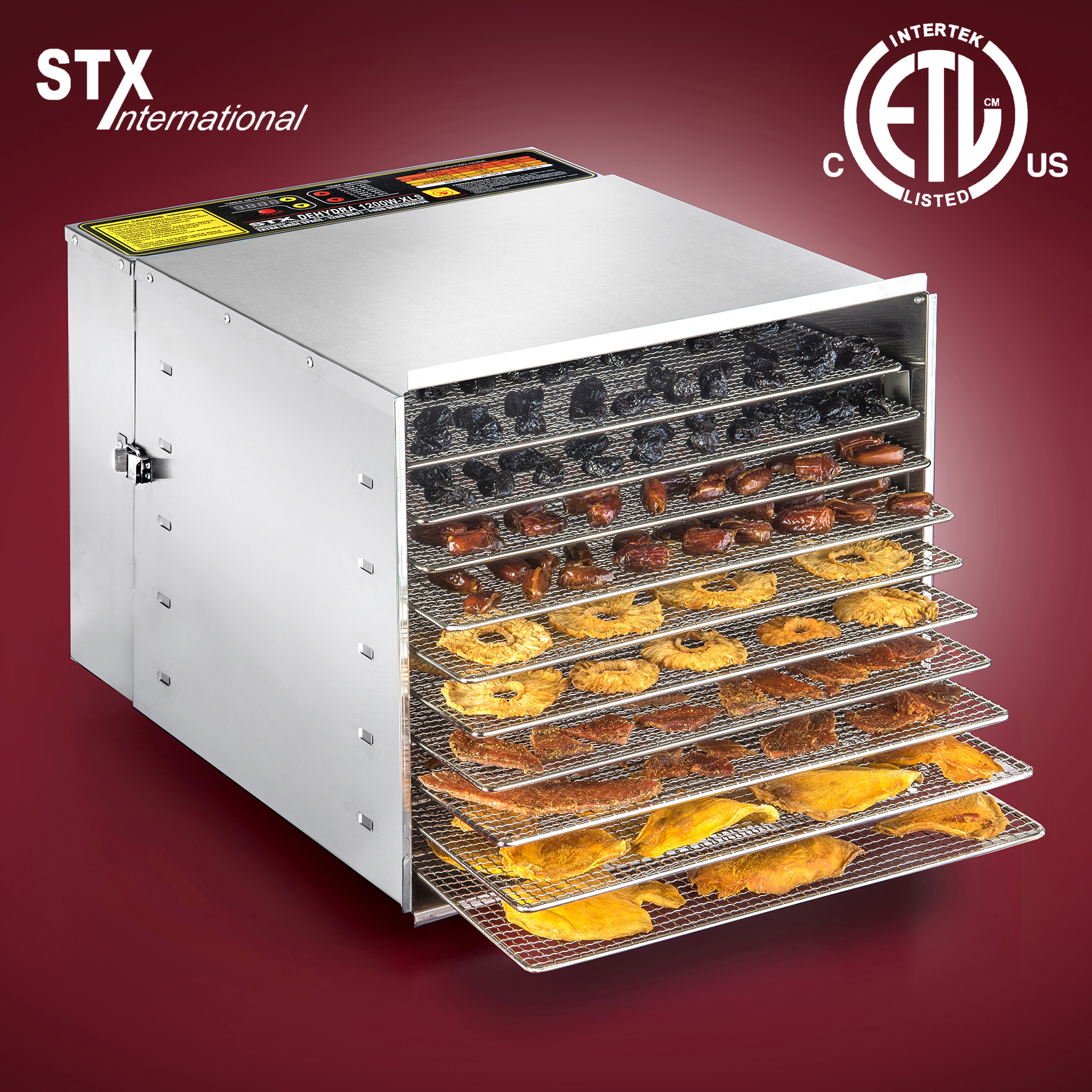 STX Dehydra 1200W-XLS 10 Tray Stainless Steel Food Dehydrator - 165°F Jerky Safe