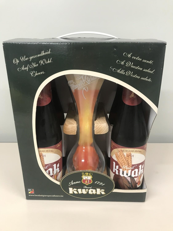 coffret kwak 33cl  4 bouteilles +1 verre et support de verre