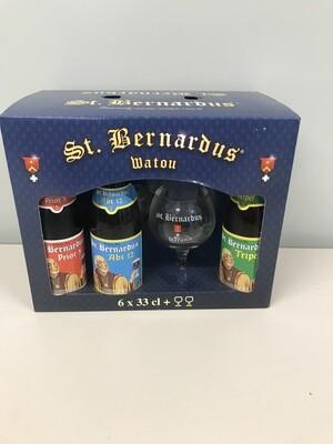 coffret st-bernardus 33cl  6 bouteilles +2verres