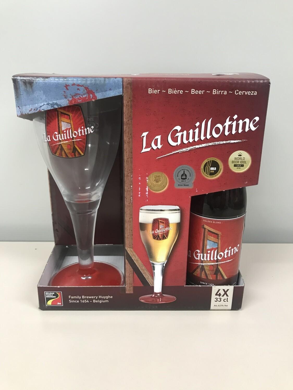 coffret la guillotine 33 cl  4 bouteilles +1 verre