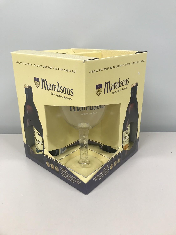 coffret maredsous 33 cl  3 bouteilles +1 verre