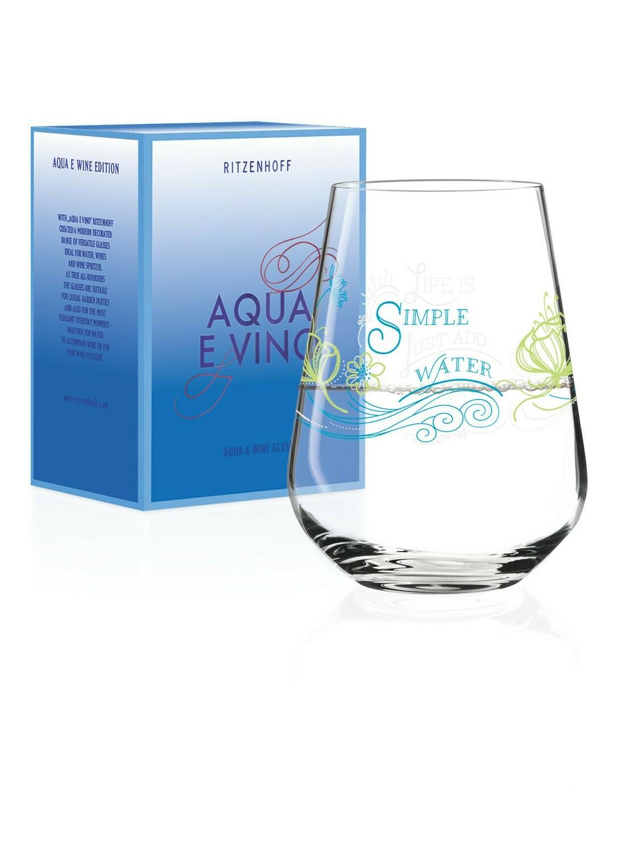Ritzenhoff Aqua and Vino Water Glass  - set of 4 packed individually