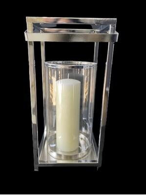 Hurricane lantern  silver only 30cm h x 15cm w x 15cm d