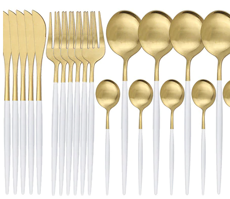 White and Gold Stainless steel dinnerware set - 24 piece