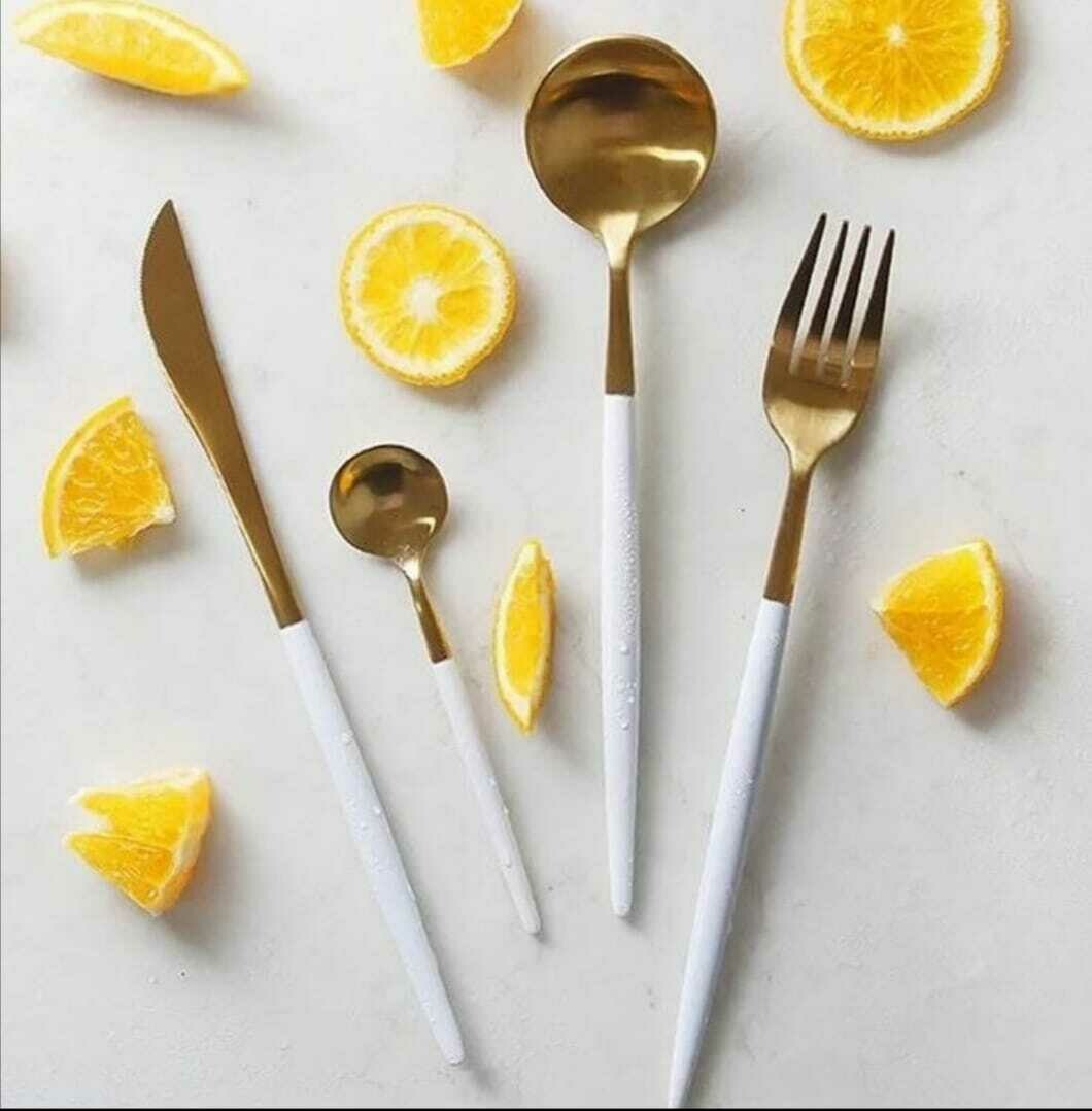 White and Gold Stainless steel dinnerware set - 32 piece