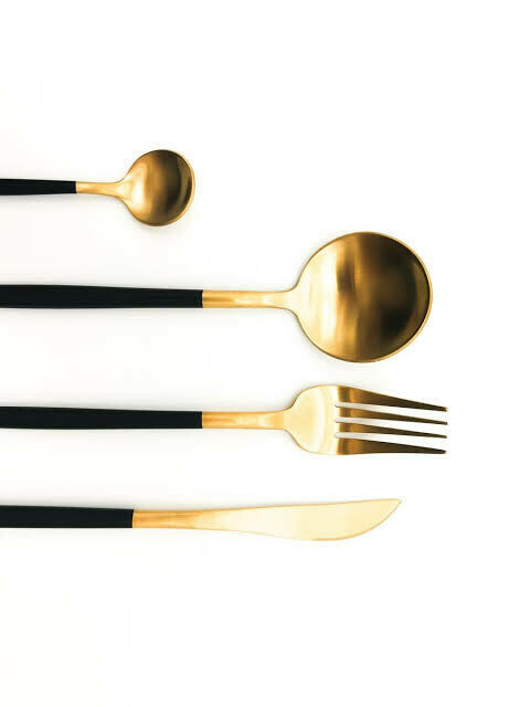 Black and  Gold Stainless steel dinnerware set - 48 piece