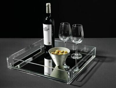 Edge tray with mirror - medium (clear with mirror base)