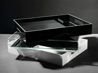 modern tray black/white/clear with mirror base - medium