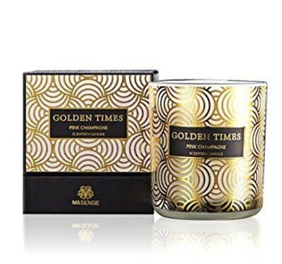 M&Sense Golden Times Pink Champagne Luxurious Scented Large Candle
