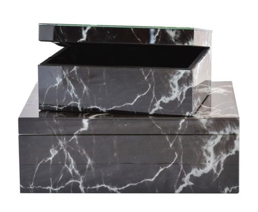 Black Glass Marble Box Set