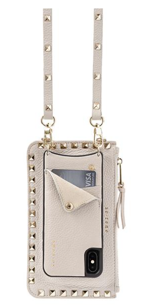 Beige Leather Cell Phone Case and Gold pyramid studded pouch