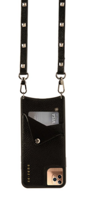 Black Leather Cell Phone Case & Pewter studded Pouch