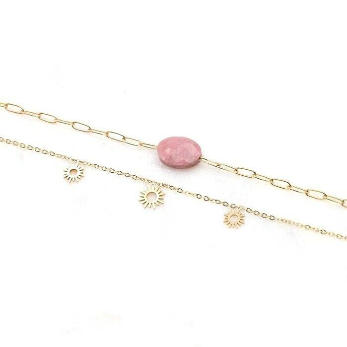 Bracelet Triple Soleil - Rhodonite