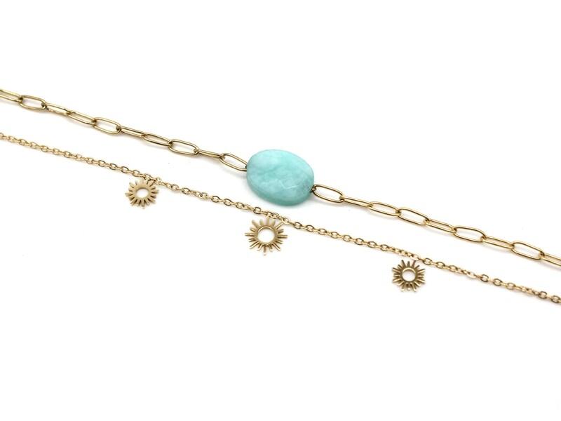 Bracelet Triple Soleil - Amazonite