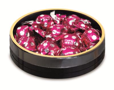 "Black Round with Plastic Bottom & Gold Rim Top (4 1/8"" x 1"")"