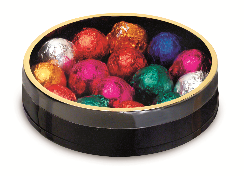 "Black Round with Plastic Bottom & Gold Rim Top (5"" x 1 1/8"")"