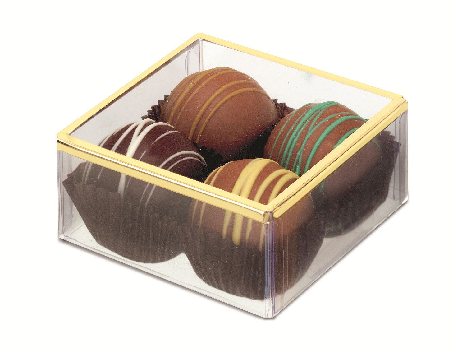"""Box with Gold or Silver Border Lid (3"""" x 3"""" x 1 3/8"""")"""