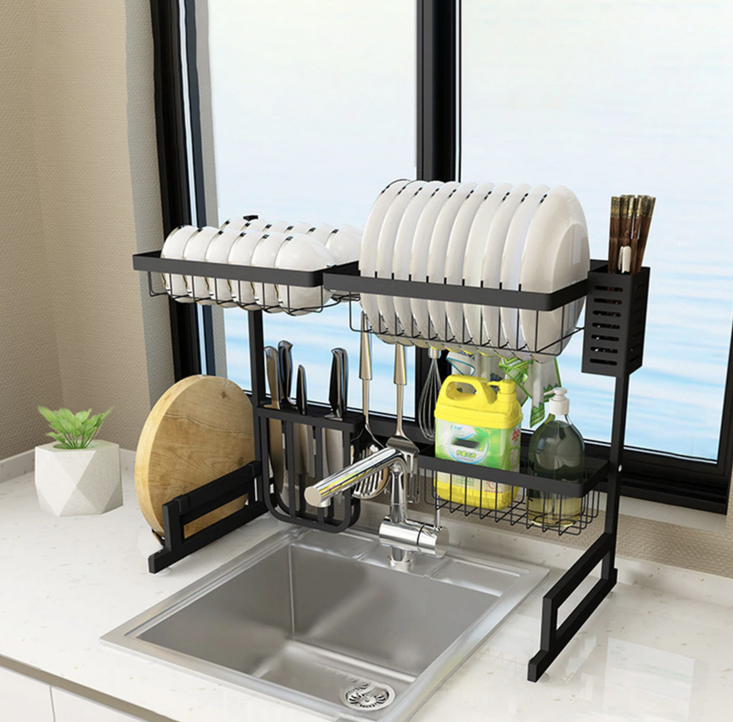 Adjustable Over The Sink Stainless Steel Drying Rack