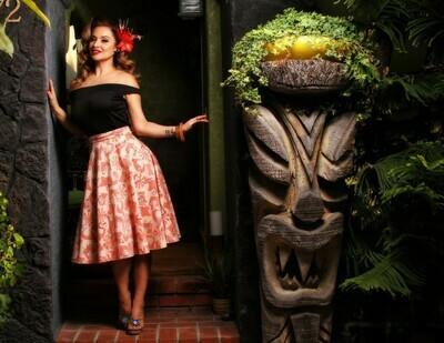 Rum Tiki Thrills Skirt Peach