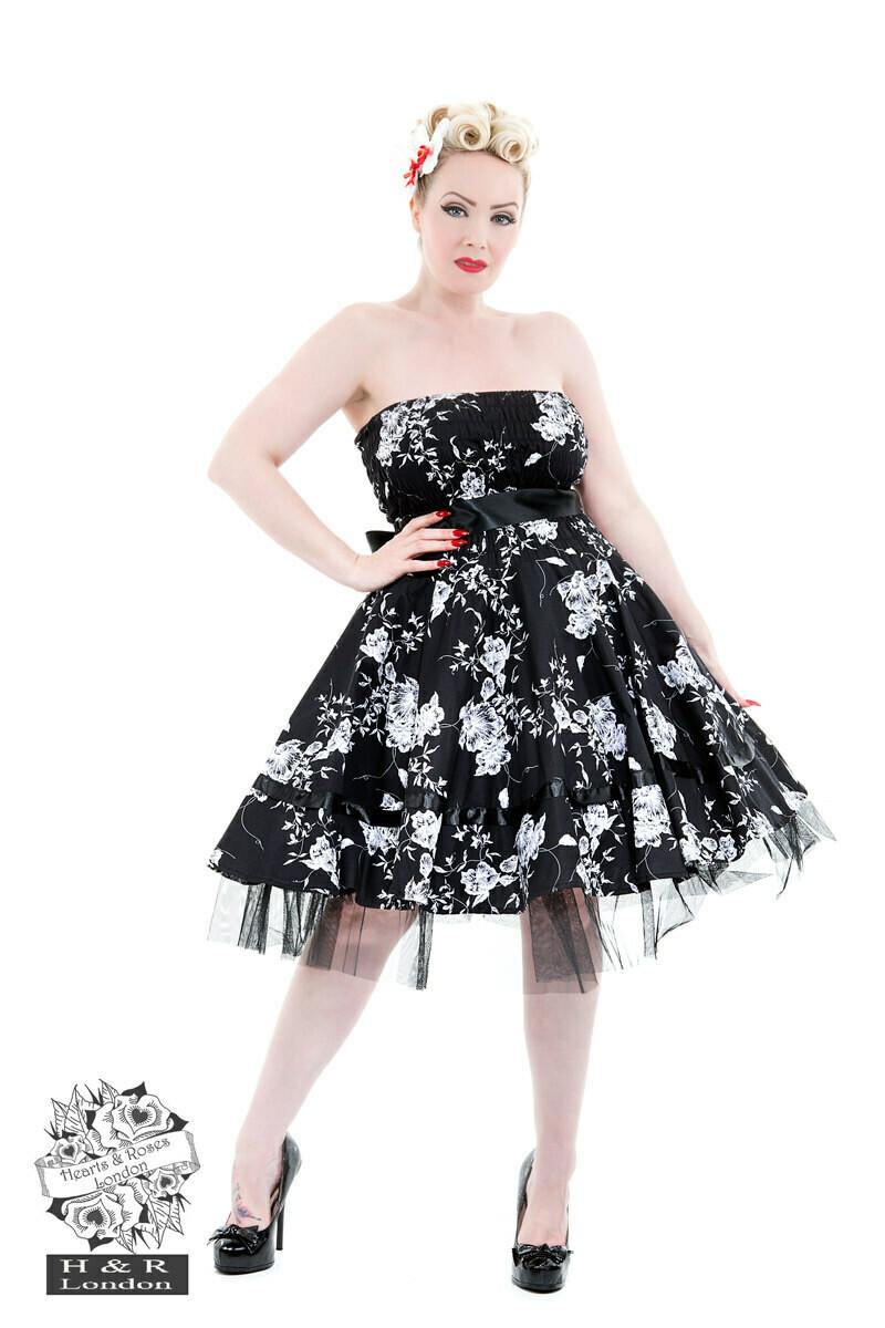 Black White Floral Prom DressHearts & Roses London