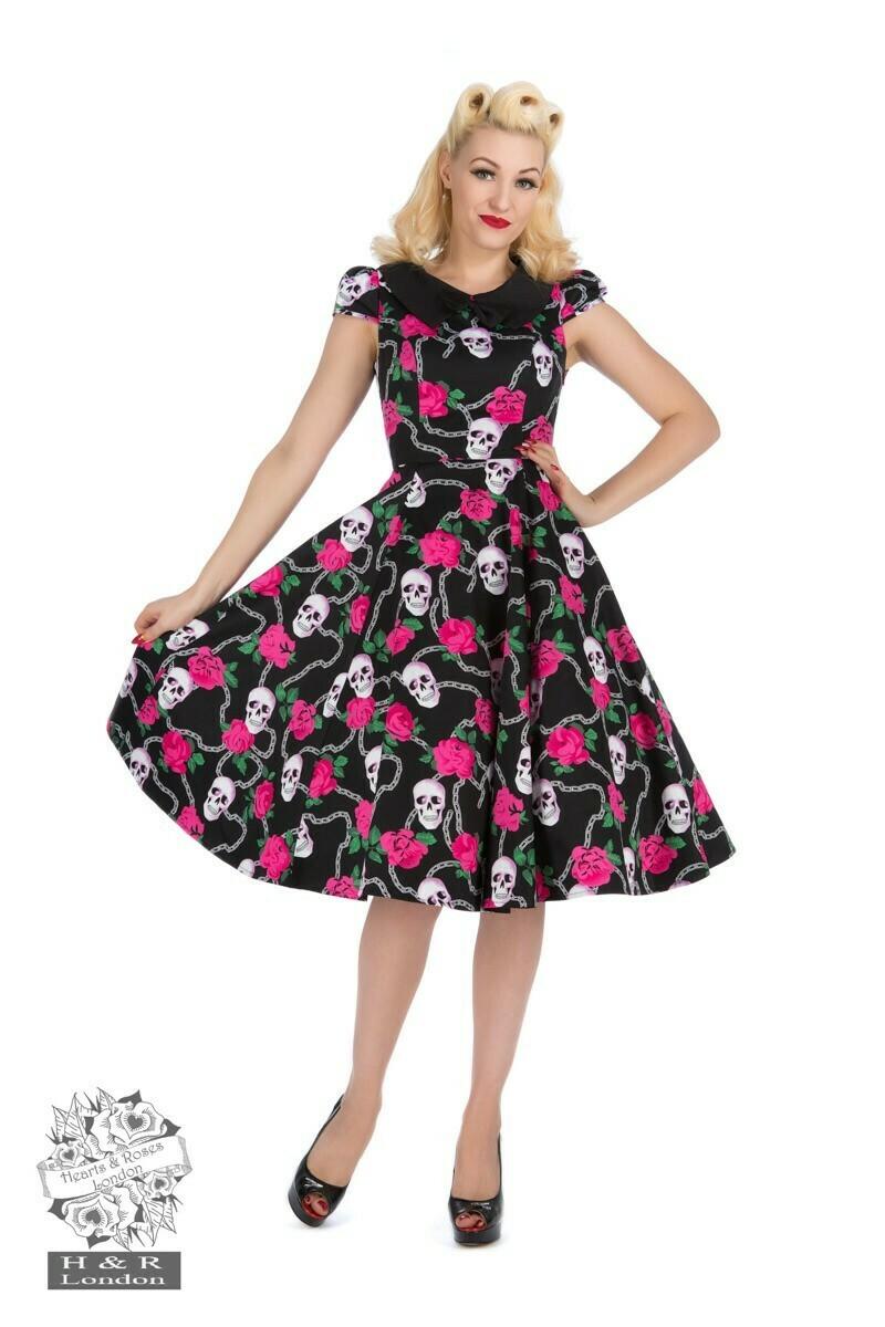 Psychobilly Skulls & Roses Tea Dress