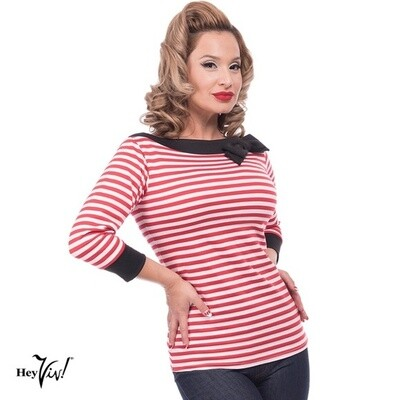 Striped Boatneck Bow Red/White