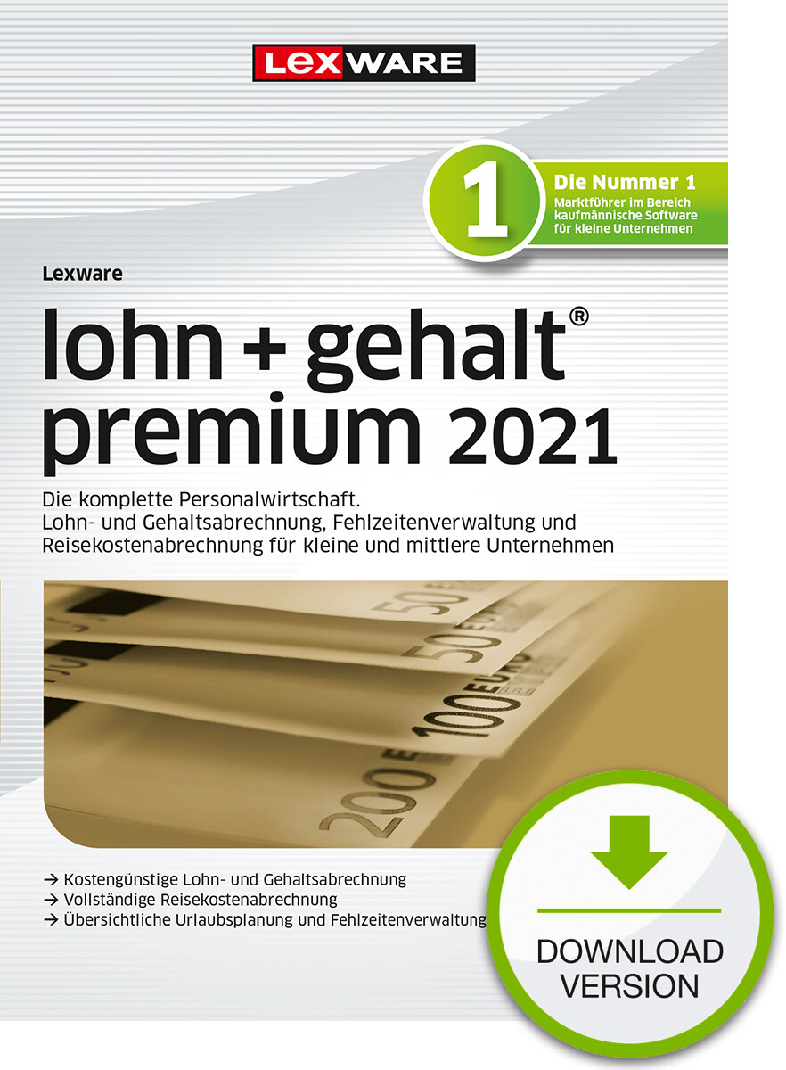 Lexware Lohn + Gehalt premium 2021 (Abo-Version) Downloadversion