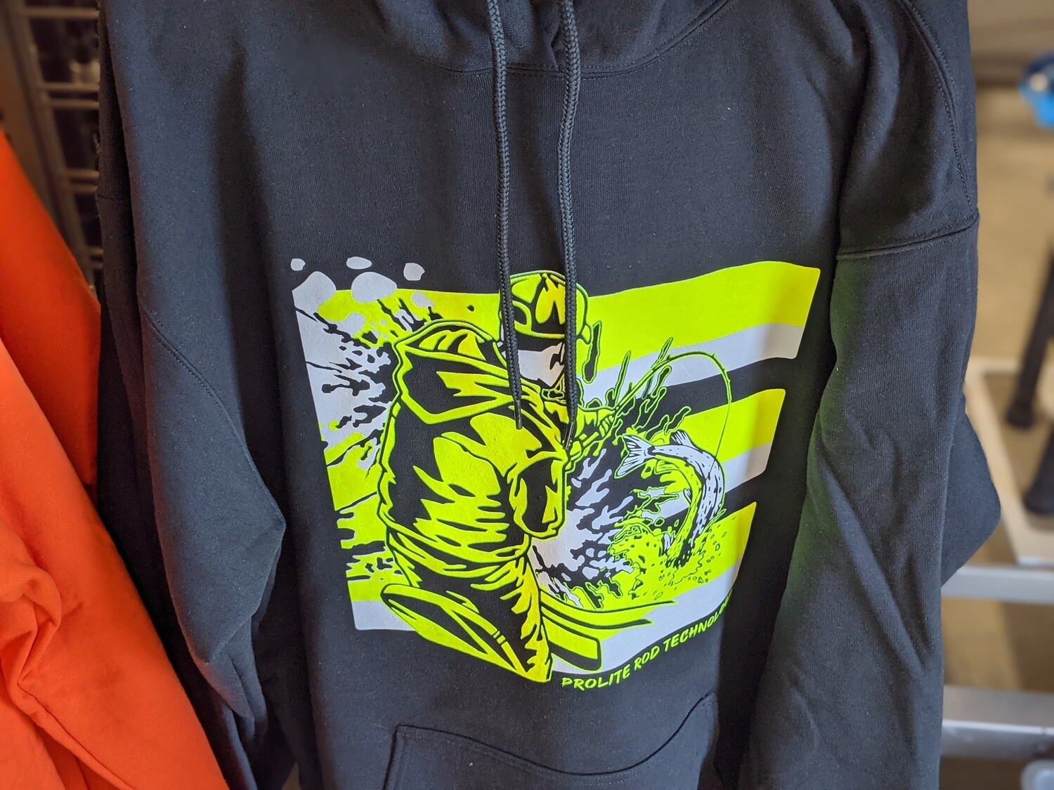 Construction Black Hoodie w/ Refelective Fishing